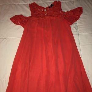 Coral Cold Shoulder Sheer/Polyester Dress.